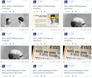 #KU_WWI tweets were translated into the languages of the historical figures by KU students
