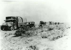 Military convoy as it appeared in western Nebraska during 1919 trek across the U. S. (from east to west) on the Lincoln Highway.