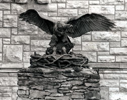 The Victory Eagle outside the main entrance of Dyche Hall at the University of Kansas