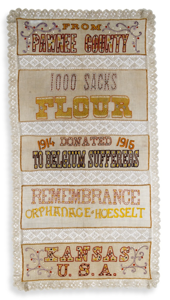 Embroidered Flower Sack, from the collections of the Kansas State Historical Society